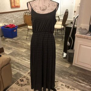 Espresso charcoal & olive striped maxi dress M